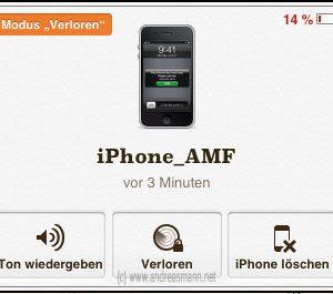 iPhone App: vor 3 Minuten wurde mein gestohlenes iPhone geortet. Weitere Details: 14 % Akkuleistung.