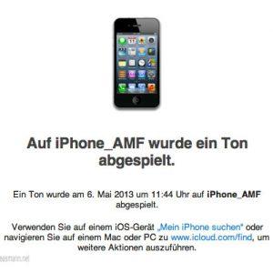 Per App habe ich einen Ton auf meinem gestohlenen iPhone abspielen lassen.