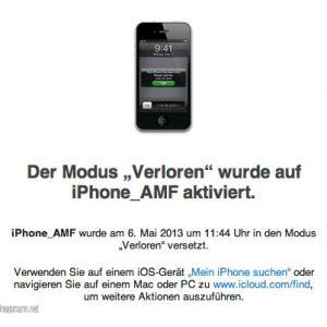 """mein gestohlenes iPhone wird aus """"verloren"""" gesetzt."""