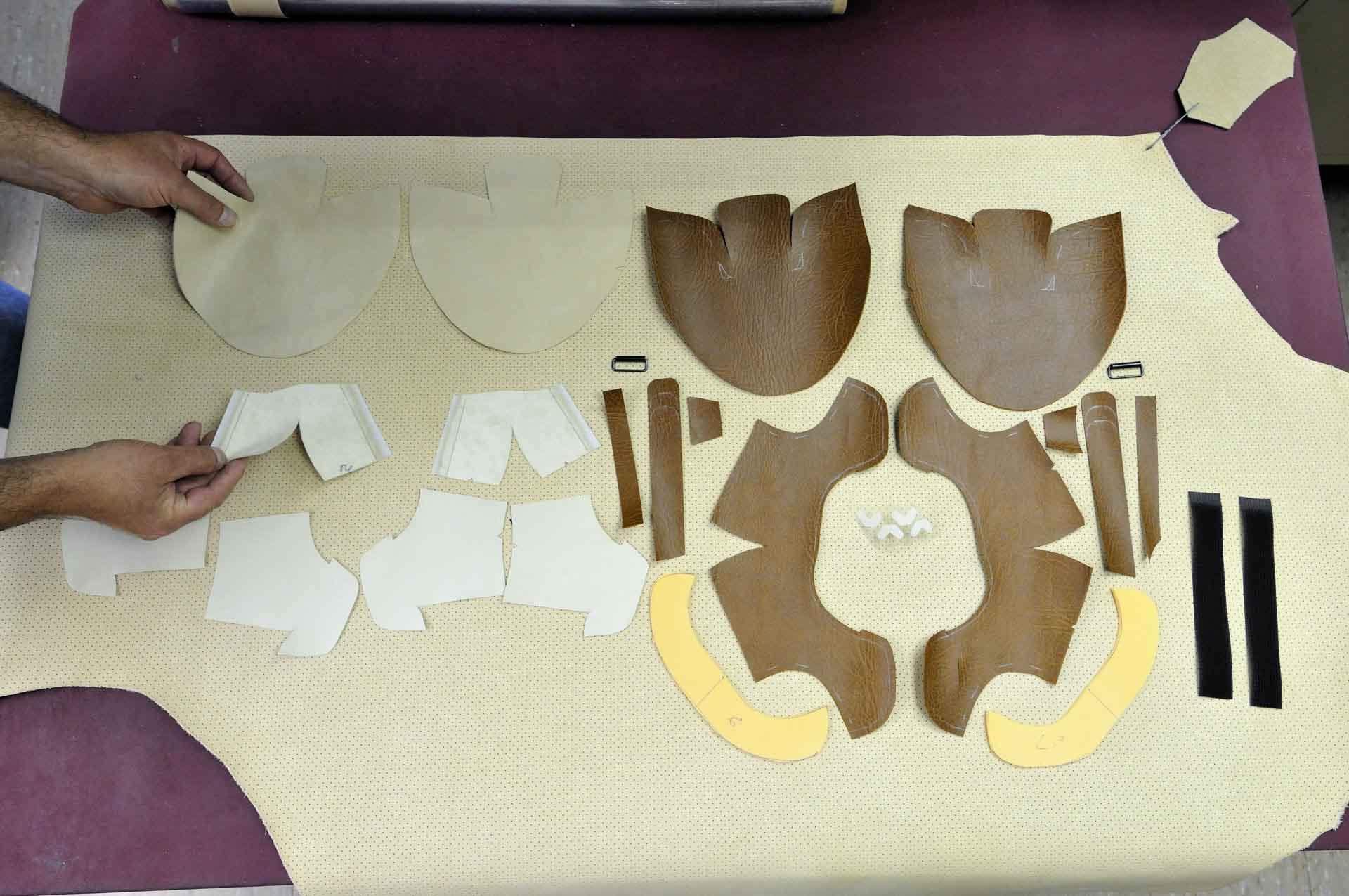 Viel Materialien für die orthopädischen Maßschuhe.