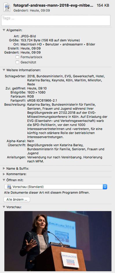 Auslesen der Datei mit ⌘+I beim Mac