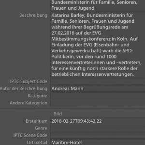 Die IPTC Beschriftung eines Fotos von Andreas Mann | Fotografie