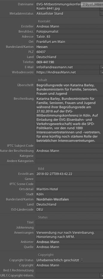 IPTC-Beschreibung mit Lightroom