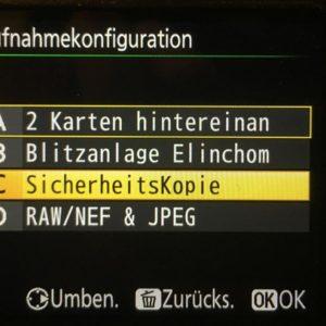 """Meine Nikon-Menu-Einstellungen am Beispiel meiner Nikon D810. Foto der Aufnahmekonfiguration im Nikon-Kamera-Menu. Die Konfiguration C ist gelb hinterlegt und mit """"SicherheitsKopie"""" beschriftet."""